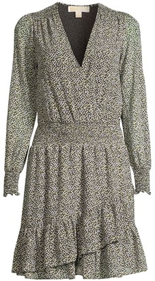 MICHAEL Michael Kors Printed Ruffle Wrap Dress