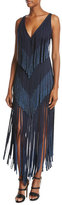 Herve Leger Sleeveless V-Neck Lurex® Fringe Dress, Pacific Blue