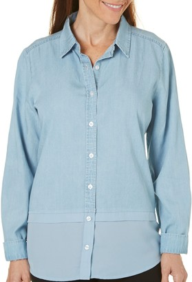 Caribbean Joe Women's Collared Chambray Shirt Small