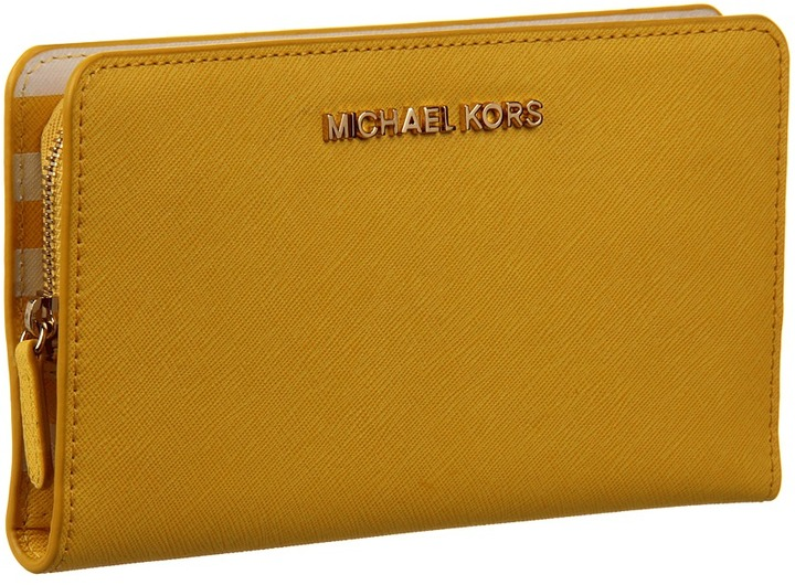 MICHAEL Michael Kors Saffiano Interior Large Snap Wallet (Citrus/White) - Bags and Luggage