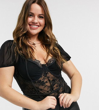 In The Style Plus x Shaughna lace detail puff-sleeved body in black