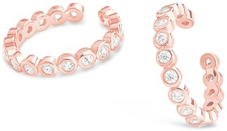 Sterling Forever 14K Rose Gold Vermeil CZ Bubble Ear Cuff - Set of 2