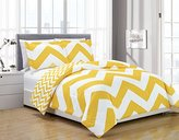 Chezmoi Collection 3-piece Zig Zag Duvet Cover Set (King, Yellow)