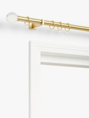 John Lewis & Partners Satin Gold Curtain Pole Kit, Glass Finials, Dia.28mm