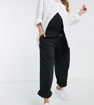 ASOS DESIGN Maternity slouchy chino pants in black with over the bump band