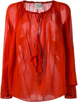 Forte Forte drawstring neck sheer blouse - women - Silk/Cotton - 1