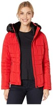 Calvin Klein Short Faux Fur Trimmed Traditional Box Quilt Down (Fire) Women's Coat