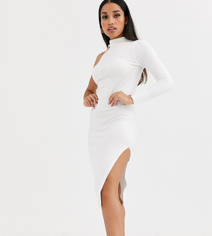 ASOS DESIGN Petite one sleeve knit midi dress