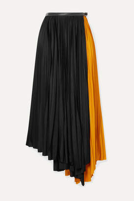 Proenza Schouler Asymmetric Two-tone Pleated Jersey Wrap Skirt - Black