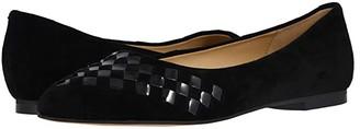Trotters Estee Woven (Black Suede/Black Patent) Women's Flat Shoes