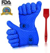 RC Highest Rated Heat Resistant Silicone BBQ Gloves with Sauce Brush for Cooking & Barbecue Grilling (Blue Gloves and Red Brush)