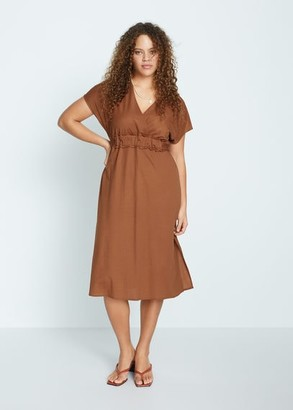 MANGO Violeta BY Belt midi dress caramel - 18 - Plus sizes