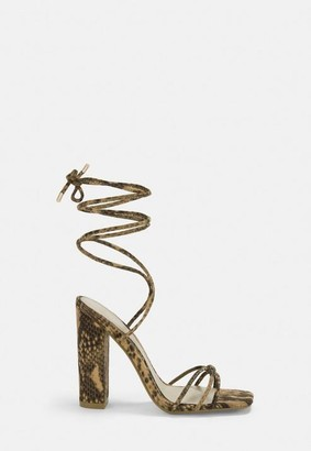 Missguided Nude Snake Print Lace Up Block Heels