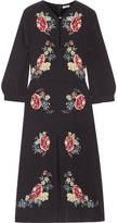 Vilshenko Holly Floral-print Silk Crepe De Chine Midi Dress - Black