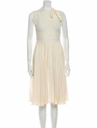 Valentino Crew Neck Midi Length Dress White