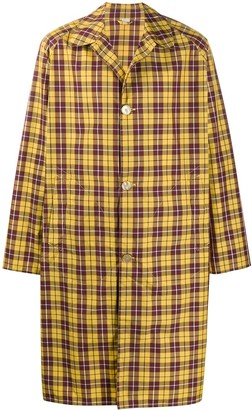 Gucci Logo Print Checked Trench Coat