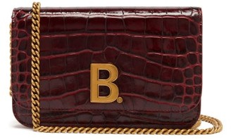 Balenciaga B. Mini Crocodile-effect Leather Cross-body Bag - Burgundy