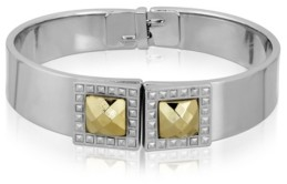 2028 Silver-Tone and Gold-Tone Stone Square Small Hinged Bracelet