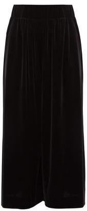 Alexandre Vauthier Velvet Wide-leg Culottes - Womens - Black