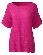 Classic Women's Petite Short Sleeve Linen Tee-White