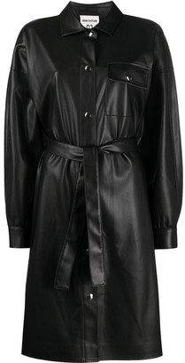 Semi-Couture Faux Leather Shirt Dress