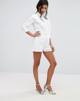 boohoo Tailored Lace Shorts