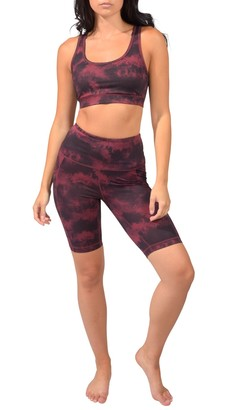 "90 Degree By Reflex Lux Printed High Rise 9"" Biker Shorts"
