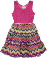 Rare Editions Chevron and Lace Dress - Toddler Girls 2t-4t