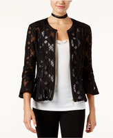 INC International Concepts Faux Leather-Trim Mesh Illusion Jacket, Only at Macy's