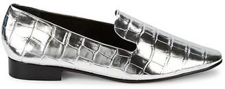 Schutz Flor Metallic Croc-Embossed Leather Loafers
