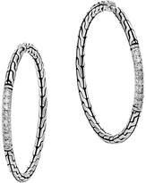 John Hardy Classic Chain Silver Diamond Pavé Medium Hoop Earrings