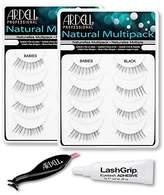 Ardell Fake Eyelashes Value Pack - Natural Multipack Babies (Black, 2-Pack), LashGrip Strip Adhesive, Dual Lash Applicator - Everything You Need For Perfect False Eyelashes by