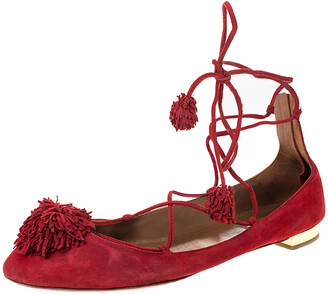 Aquazzura Aquaazzura Red Suede Leather Fringe Tassel Ankle Wrap Ballet Flats Size 40.5