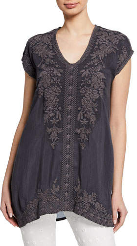 Johnny Was Heidi Short-Sleeve Georgette Tunic w/ Tonal Embroidery