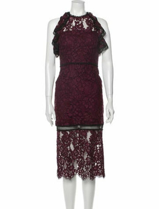 Alexis Lace Pattern Midi Length Dress Purple