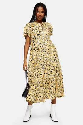 Topshop Womens Yellow Daisy Grandad Midi Shirt Midi Dress - Yellow