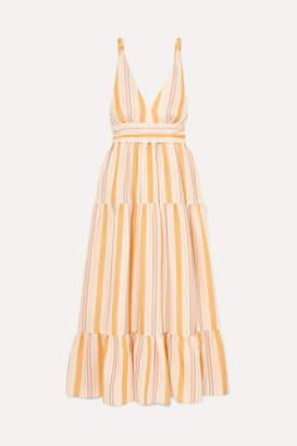 Lemlem + Net Sustain Zeritu Belted Striped Cotton-blend Gauze Maxi Dress - Yellow