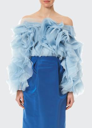 Carolina Herrera Ruffled Pearl Embroidered Off-the-Shoulder Blouse