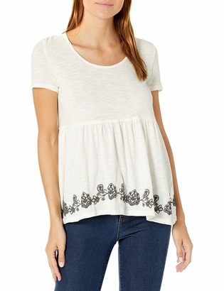 Taylor & Sage Women's Puff Print Short Sleeve Button Back Top