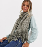 Stitch & Pieces Exclusive grey marl scarf with tassels