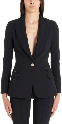 Elisabetta Franchi Logo Trim Tailored Blazer