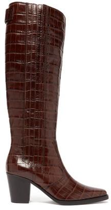Ganni Crocodile-effect Leather Knee-high Boots - Dark Brown