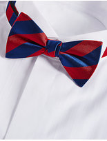 M&S Collection Pure Silk Striped Bow Tie