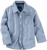 Osh Kosh Toddler Boy Long Sleeve Blue Pinstripe Poplin Button-Down Shirt