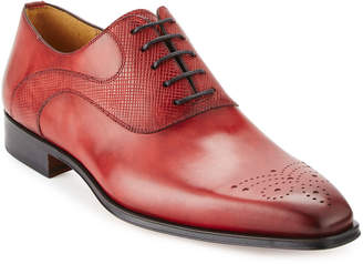 Magnanni Men's Antiqued Leather Lace-Up Oxford