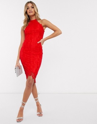 AX Paris high neck lace dress in red