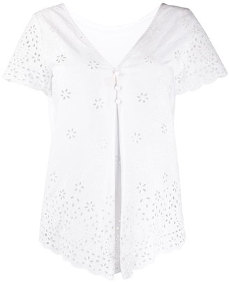 Semi-Couture Short-Sleeved Embroidered Blouse