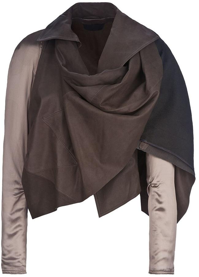 Haider Ackermann draped leather jacket