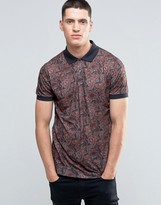 Pretty Green Polo Shirt With Paisley Print In Slim Fit Black