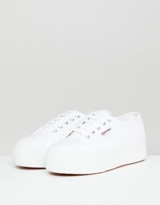 Superga 2790 Linea Flatform Chunky Trainers In White